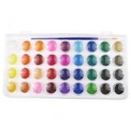 Краски акварельные YOVER (большие кюветы) 36 цветов, с кисточкой