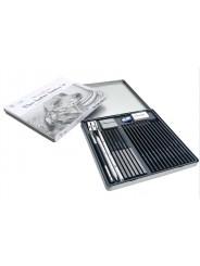 Профессиональный  художественный набор для рисунка и эскизов на 32 предмета в металлическом пенале