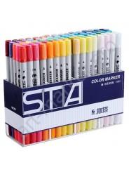Набор  двусторонних маркеров для скетчинга STA 48 цветов