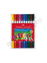 Фломастеры Faber-Castell 10 цветов Fibre tip двухсторонние