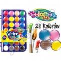 Краски акварельные Colorino (большие кюветы) 28 цветов, с кисточкой