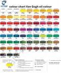 Масляные краски Van Gogh, Палитра цветов