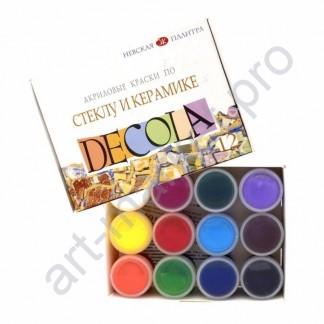 Набор красок акриловых по стеклу и керамике Decola
