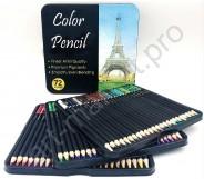 Подарочный набор цветных карандашей в металлической коробке 72 цвета