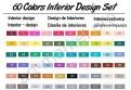 Цветовая палитра маркеров «TOUCHNEW» 60 цветов для интерьерного скетчинга
