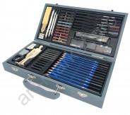 Подарочный художественный  набор для рисунка и эскизов в деревянной коробке ( 60 предметов)