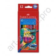 Карандаши акварельные с кисточкой  Faber Castell  12 цветов