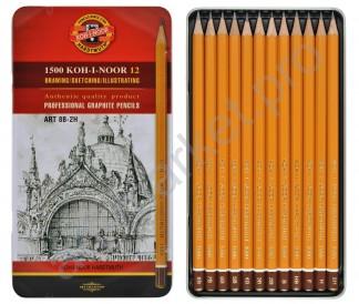 Набор графитных карандашей Koh-I-Noor 1500 Art, 8В-2Н