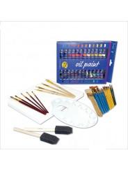 Набор художественных масляных красок YOVER с кисточками, холстом и палитрой (51 предмет)