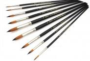 Кисти для рисования с длинной ручкой (круглые) набор 9 штук